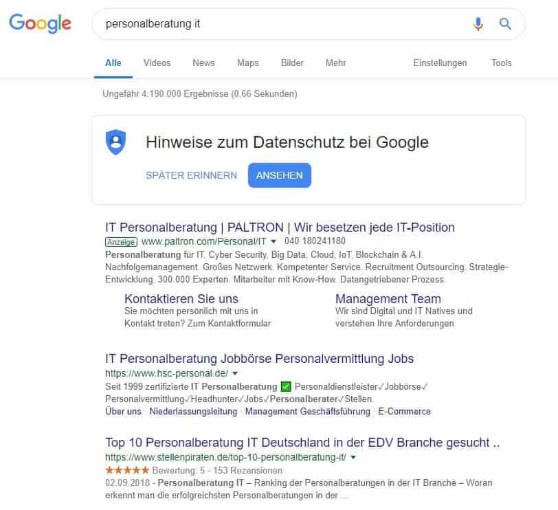 Google Ranking HSC Personalmanagement