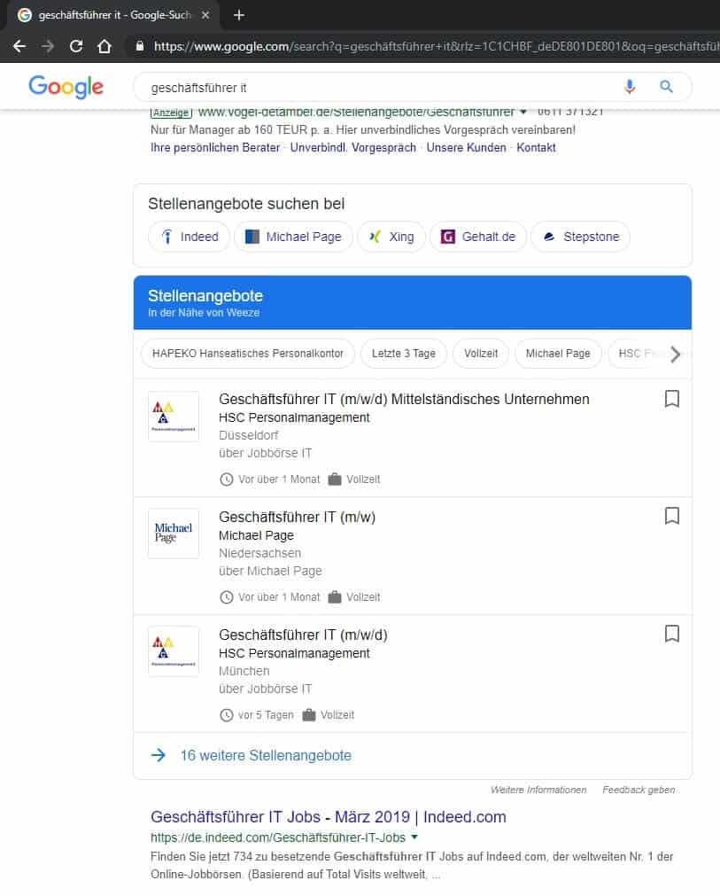 google for jobs - Die Jobbörse übernimmt Stellenanzeigen der Unternehmen & Personalabteilung