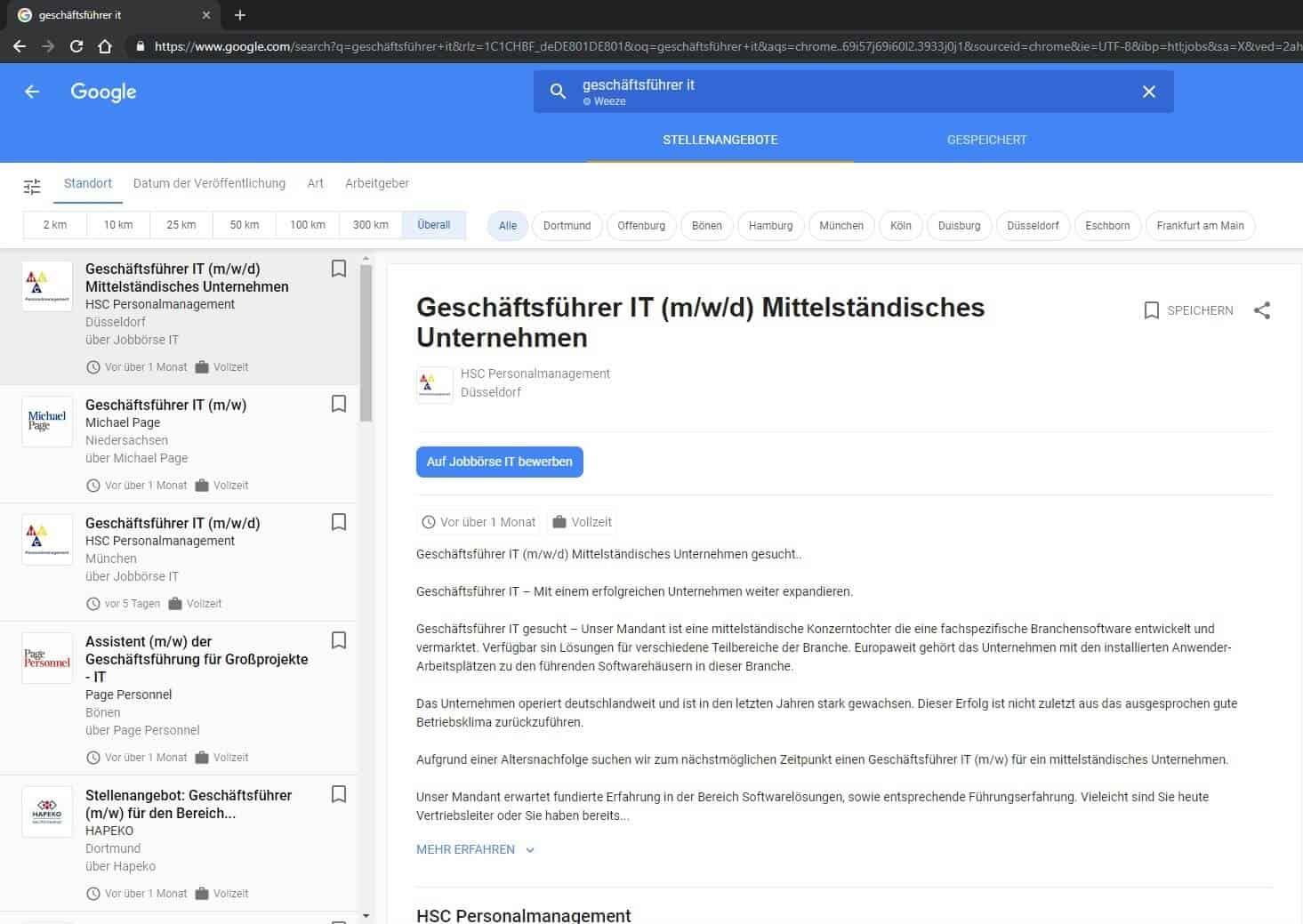 Geschäfsführer It Suche bei Google for Jobs