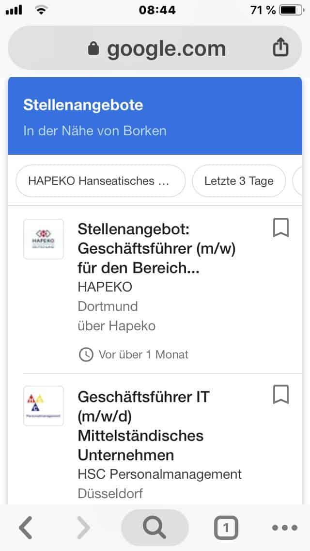 Mobile Variante google for jobs Suche Geschäfsführer IT