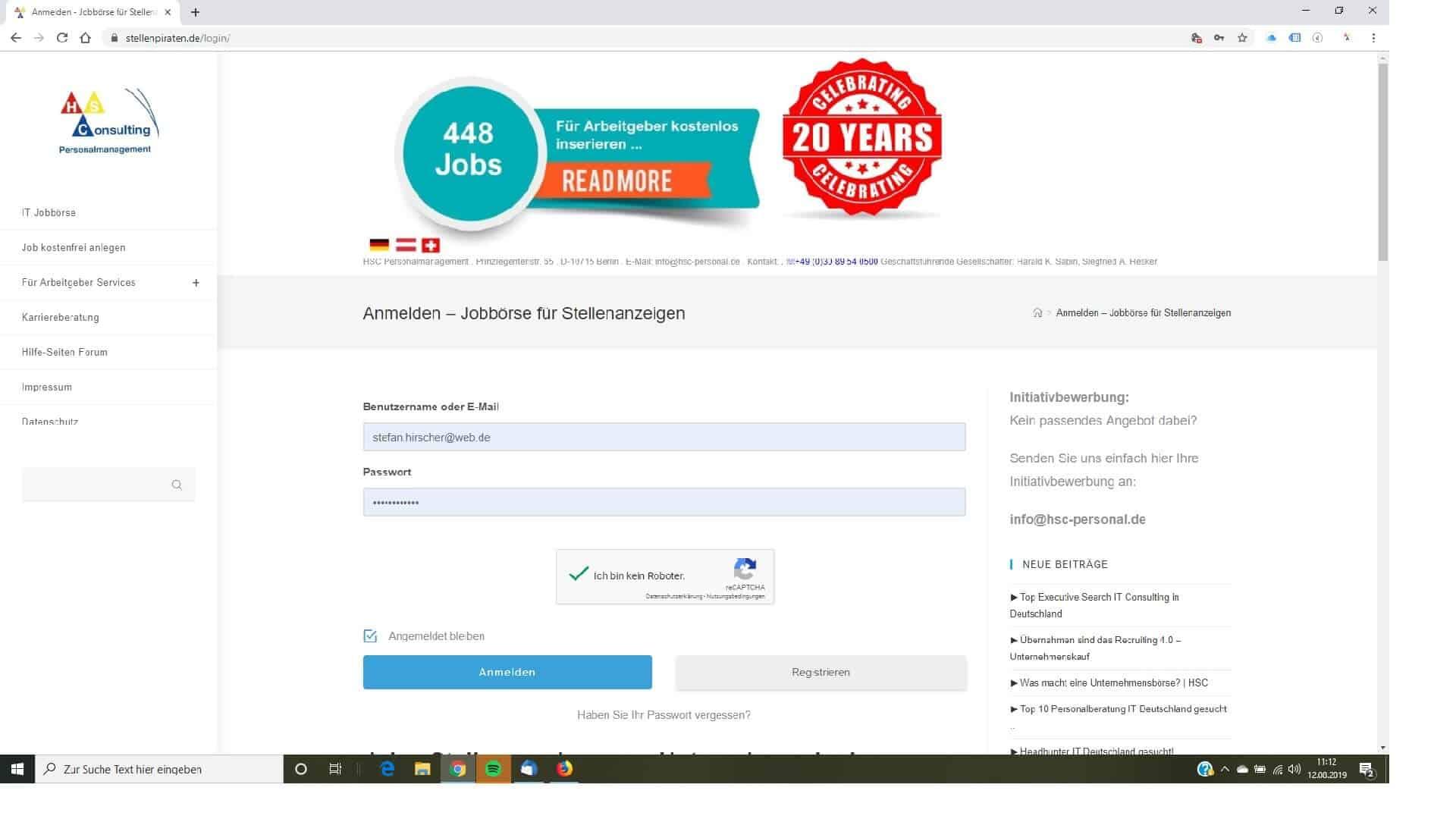 Jobbörse- hier können Sie Ihren Account als User verwalten
