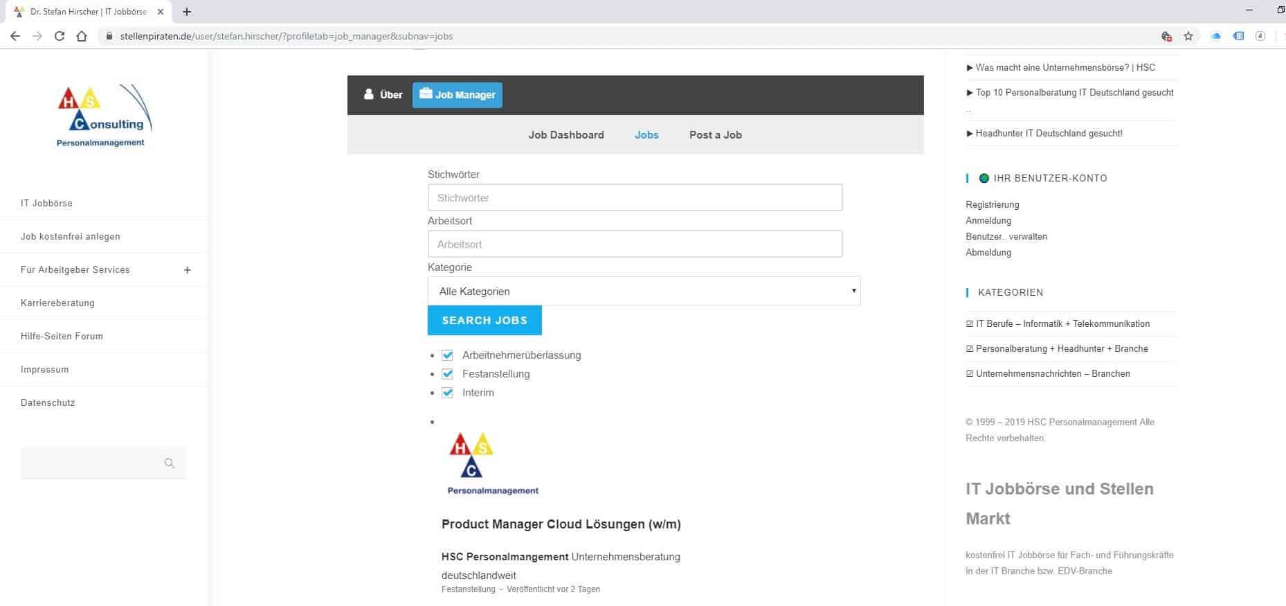 Jobbörse- hier im Job Board können Sie Ihren Account als User verwalten